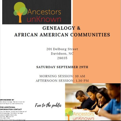 """Flyer discussing Dana Saxon's """"free public workshops"""" for genealogical research during her residency in Davidson, NC."""